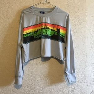Retro OP Ocean Pacific Cropped Loose Sweatshirt S